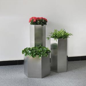 不锈钢几何形花盆组合