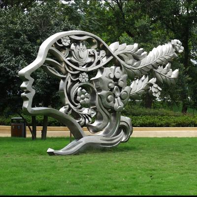 户外公园人头抽象不锈钢雕塑