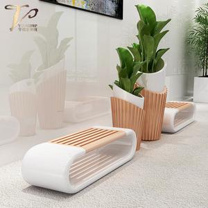 玻璃钢木纹花盆组合坐凳