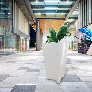 北欧设计师休闲花盆定制玻璃钢FRP白色落地式大号插花花盆