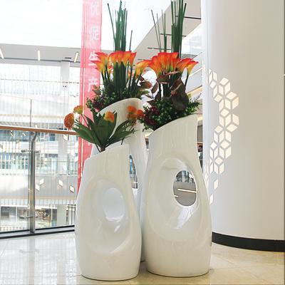 休闲玻璃钢北欧现代树洞花盆商场美陈烤漆白色