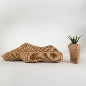 木质艺术摆件切片休闲椅花盆组合