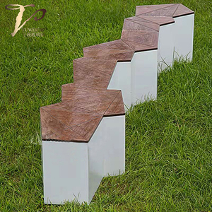 玻璃钢+实木组合户外长条坐凳
