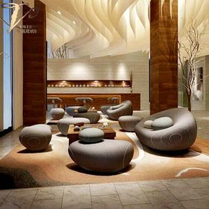 酒店大堂玻璃钢鹅卵石软包沙发