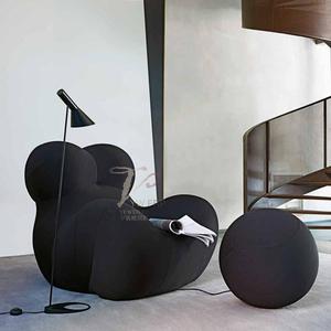 北欧酒店休闲家具定制玻璃钢软包环保沙发椅