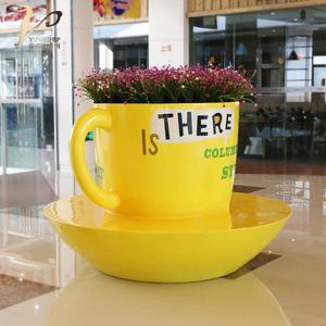 商业美陈可户外玻璃钢杯子花盆座椅