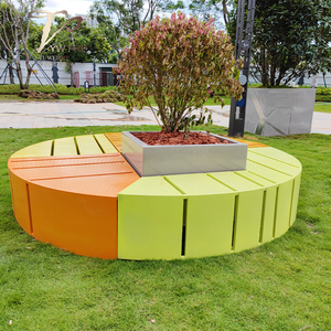 户外美陈玻璃钢+不锈钢种植花箱坐凳组合