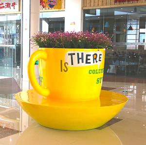 玻璃钢圆形咖啡杯子花盆坐凳