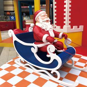 玻璃钢圣诞老人雪橇车雕塑