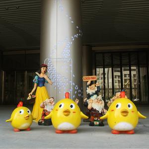 卡通玻璃钢雕塑白雪公主七个小矮人小黄鸭